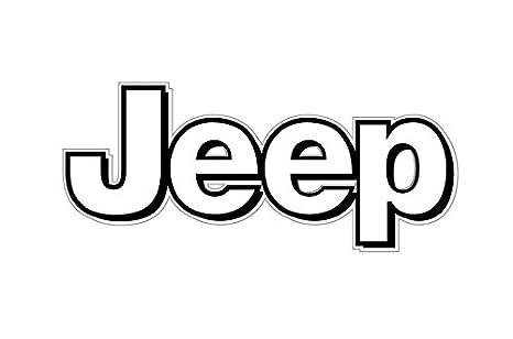 amazon com 1063 jeep logo white with black border 2 pack automotive rh amazon com jeep logo font name jeep logo font free