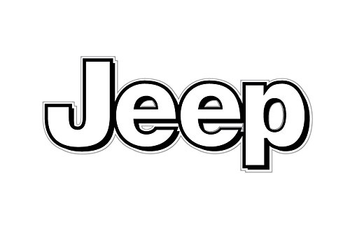 amazon com 1063 jeep logo white with black border 2 pack automotive rh amazon com jeep wrangler logo font jeep logo font name