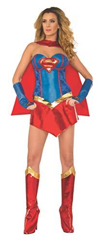 Secret Wishes Womens DC Comics Supergirl Corset Costume, Red/White/Blue, X-Small