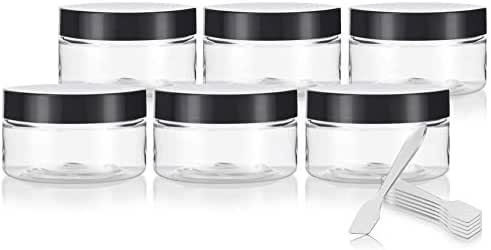 Clear PET Plastic (BPA Free) Refillable Low Profile Jar - 4 oz (6 Pack) + Spatulas