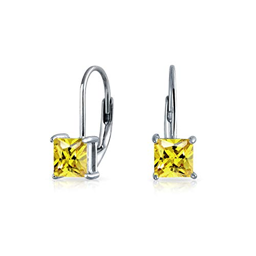(1CT Canary Yellow Brilliant Princess Cut Solitaire Square CZ Leverback Drop Earrings Simulated Topaz 925 Sterling Silver)