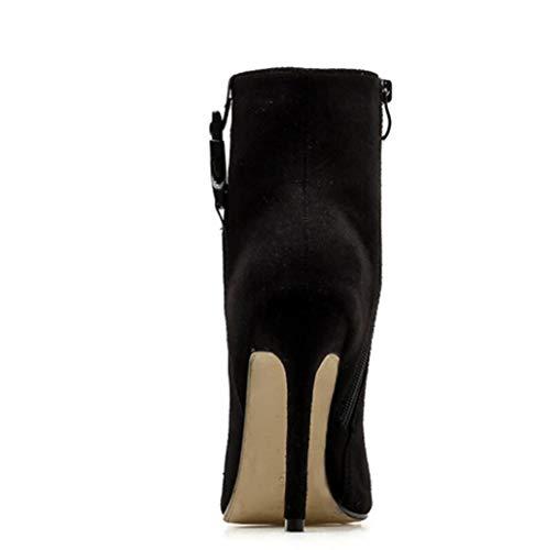 Stiefel Spitzen Herbst Winter Größe 2018 Damen High Heels Kurze Heels Große Stiletto Black Shiney R1TwqE8