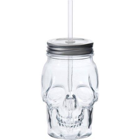 Skull Shaped Translucent Glass Mason Jar Sipper w/Straw-Lid 16oz...