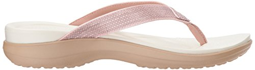 Capri Silber Pink Zehentrenner Rose Sequin Gold crocs Flip V Damen Silver 1qnwg