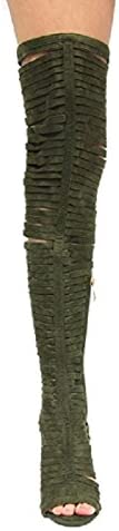 Cape Robbin Libby-6 Olive Thigh High Open Toe Stiletto Glariator Cut-out Boot