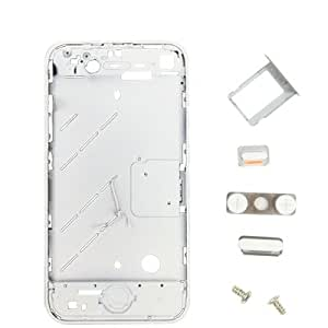 Sef Shop # 4633427in 1(High Quality Replacement Front Bezel + Middle Board + Mute Switch Button Key + Volumen Key + SIM Card Tray Holder + Two Screws) for iPhone 4(White)