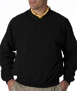(UltraClub Adult Long-Sleeve Microfiber Cross-Over V-Neck Windshirt, Large, Black/Black)