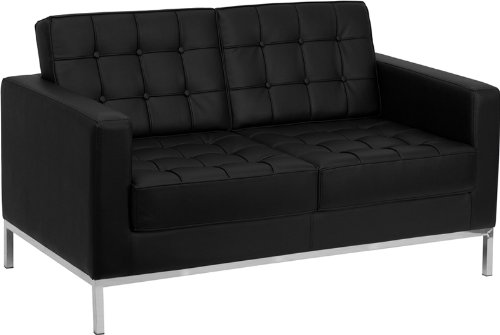 (Flash Furniture HERCULES Lacey Series Contemporary Black Leather Loveseat with Stainless Steel Frame)
