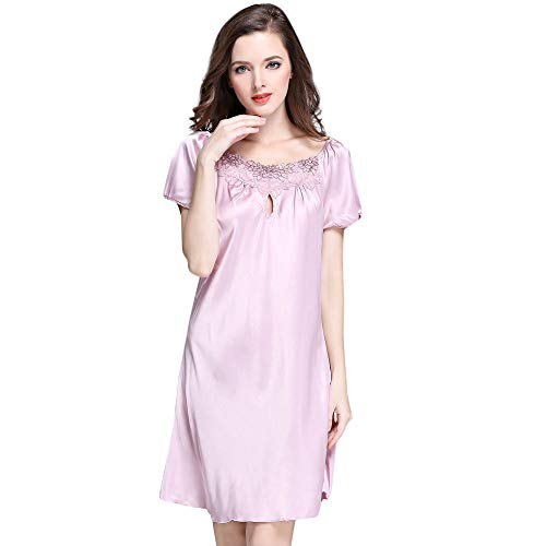 POQOQ Lingerie for Women Front Closure Babydoll Lace Chemise V Neck Mesh Sleepwear S Hot Pink]()