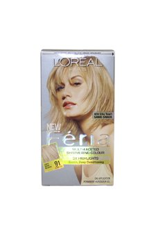 Loreal Feria Multi Faceted Shimmering Hair Color, 91 Light B