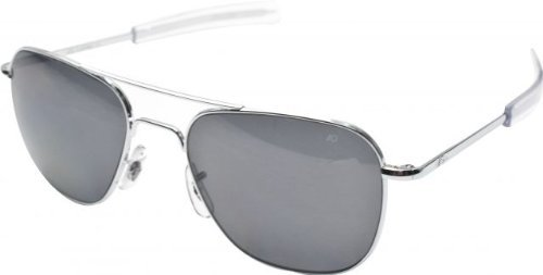 844e526dc75 AO Eyewear American Optical - Original Pilot Aviator Sunglasses with  Bayonet Temple and Silver Frame