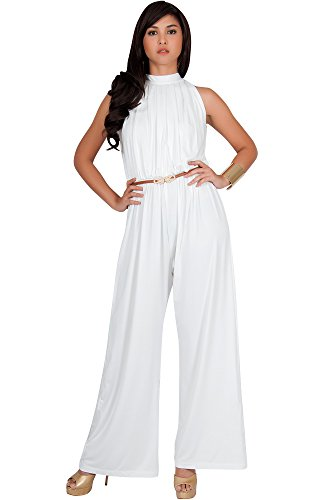 KOH KOH Womens Sexy Sleeveless Halter-Neck Wide Leg Pants Cocktail Overall Long Work Day Suit Pant Suits Pantsuit Playsuit Jumpsuit Jumpsuits Romper Rompers, Ivory White M 8-10