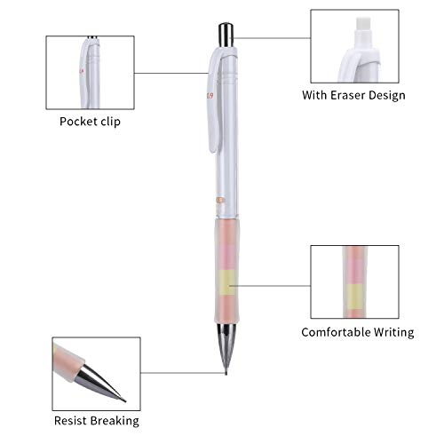 Mechanical Pencil, ExcelFu 4 Pieces 0.9 mm Mechanical Pencils with 4 Tubes 2B Lead Refills and 2 Pieces Erasers for Writing, Drawing, Signature, 4 Colors