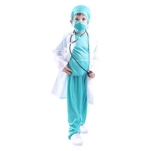Kids Doctor Costume Child Toddler Professional Uniform Dr Surgeon Clothing Suit Role Play with Doctor Cap Halloween Costume (White+Green, L(Height 47-55