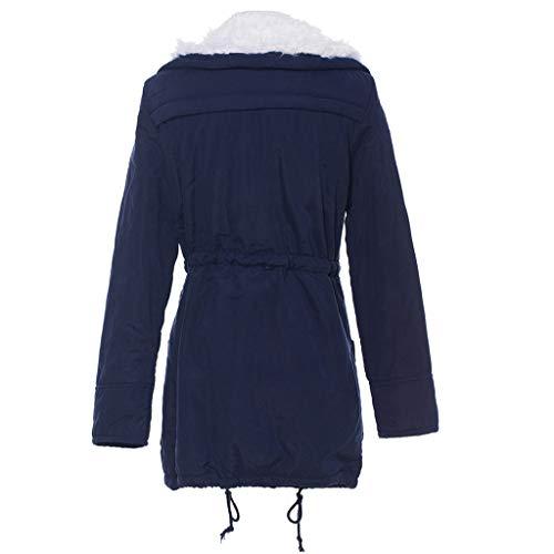 Invierno Parka Forrada Pelo Capucha Ultra Entallados Azul Sintetico Warm Chaqueta Abrigos Acolchados Mujer Con q0TwnH6
