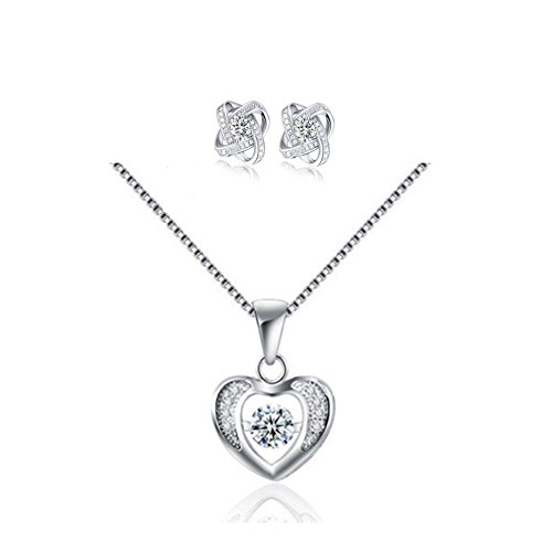 Yoome 925 Sterling Silver Dancing Jewel Pendant Necklace Forever Love Heart Necklace and Earrings Set Valentine's Day Gift - Dancing Jewel