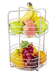 Inspired Living by Mesa Criss Cross fruit-bowls, 2-Tier Basket, SATIN NICKEL