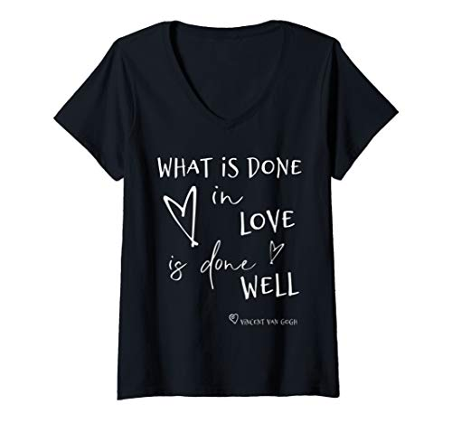 Vincent Van Gogh Inspirational Love Quote Text Shirt V-Neck