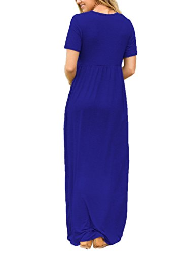 Women's Pleated Dress Waist Maxi ROSKIKI Long Royalblue Shirt Short High Pockets Sleeve fdHxnZ4q
