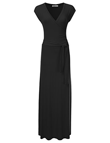 - CLOVERY Women's Solid Self-tie Surplice Maxi Faux Wrap Dress Black S