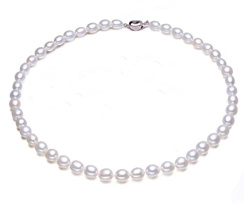 JYX 7-8mm Oval Natural White Freshwater Pearl Necklace Single Strand (7 Mm Single Strand)