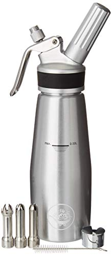 (Professional Quality Whipped Cream Dispenser : 1 Pint Leakproof Canister makes Fresh Gourmet Whipped Cream : upgraded Stainless Steel Tips by Blue Lily Goods)