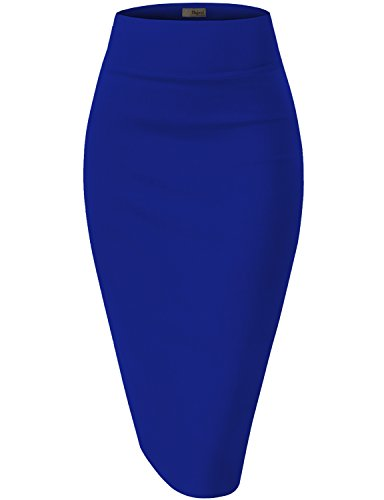 Womens Premium Stretch Office Pencil Skirt KSK45002 Royal Large