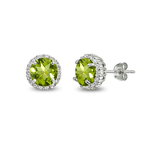 Sterling Silver Peridot & Cubic Zirconia 6mm Round-cut Halo Stud Earrings ()