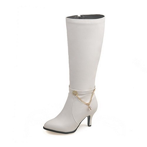 Heels Round Closed Mid Boots Top Solid Women's Toe Allhqfashion High White 86SnFxapn