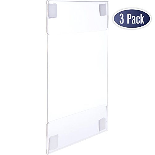 Acrylic Sign Holder with Hook and Loop Adhesive, 8.5 x 11 inches - Portrait or 11 x 8.5 inches - Landscape, Clear Wall Mount Frame, Perfect for home, office, store, restaurant (3 Pack) (Wall Plastic)