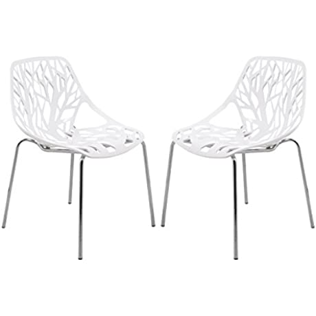 LeisureMod Modern Asbury Dining Chair With Chromed Legs White Set Of 2