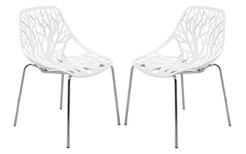 LeisureMod Modern Asbury Dining Chair with Chromed Legs, Set of 2, White
