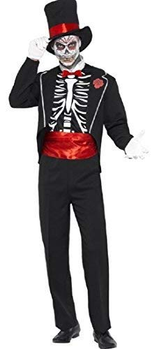 Mens Tuxedo Skeleton Day of The Dead Groom Sugar Skull Halloween Fancy Dress Costume Outfit (Large) -