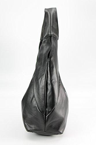 """BELLI """"Bellissima"""" ital. XL Nappaleder Shopper Beuteltasche schwarz - 34x23(mittig)x17cm (B x H x T)"""