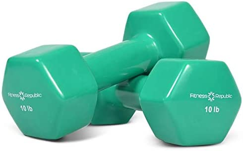Fitness Republic Vinyl Coated Dumbbells Hex Shaped, Roll Free, Non Slip Hand Weights for Strength Training, Color Coded Dumbbells