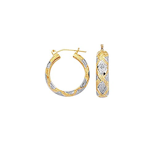 10K Yellow+White Gold 6.0mm Shiny Diamond Cut Textured Hoop Earring with Diamond Pattern with Hinged Clasp by BH 5 STAR Jewelry