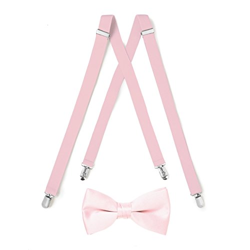 Suspender & Bow Tie Set (Adult, Light Pink) ()