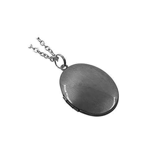 Vintage Style Antiqued Silver Simple Oval Photo Locket Pendant Charm Necklace 27'' Vintage Silver Lockets