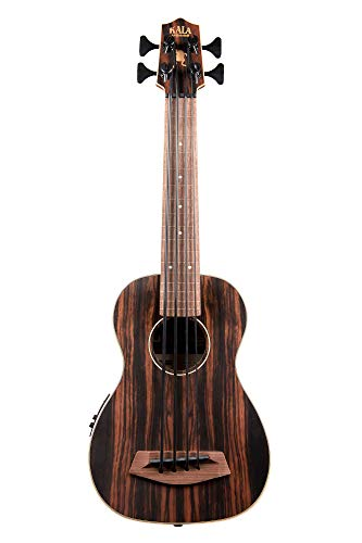 Kala UBASS-EBY-FL Striped Ebony Fretless U-Bass Acoustic-Electric Ukulele Bass Natural