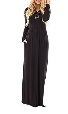 Moliketor Women's Long Sleeve Plain Maxi Dress Casual Long Dresses with Pocket