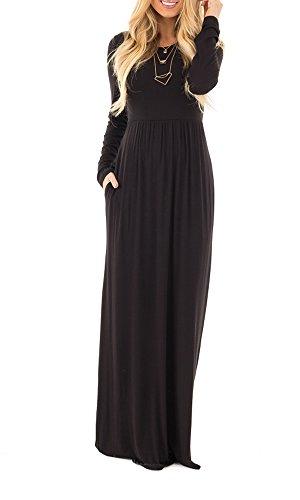 Moliketor Women's Long Sleeve Plain Maxi Dress Casual Long ...