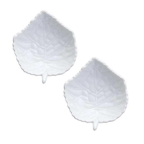 HIC Harold Import Co. 73/66/2 HIC Leaf-Shaped Tea Bag Holder and Resting Caddy Set of 2 Fine White Porcelain - Fine White Porcelain Holder