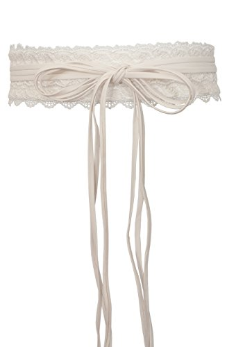 eVogues Plus size Faux Leather Obi Waistband Sash Belt Lace Detail Off White - One Size (Detail Stretch Belt)