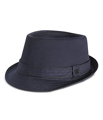 Sean John Men's Herringbone Diamond Top Fedora Navy Medium/Large