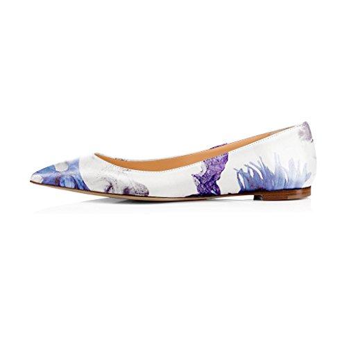 Fsj Femmes Frais Floraux Imprimés Appartements Pompes Bout Pointu Glisser Sur Les Chaussures Habillées Pour Le Confort 4-15 Nous Violet Fleur