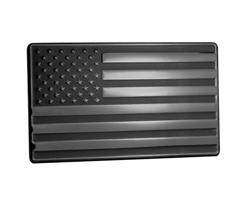 Flag Auto Emblem - USA American Embossed Stainless Steel Metal Flag for Cars, Trucks Black 5