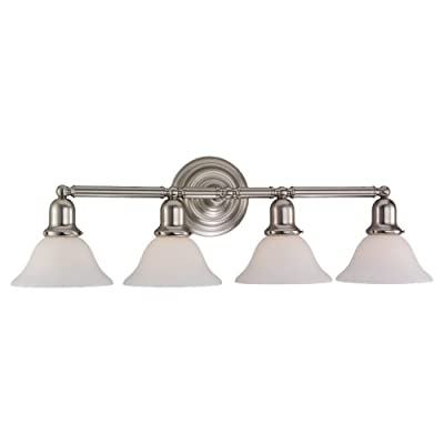 Sea Gull 44063-962 4-Light Sussex Bathroom Vanity Light, Brushed Nickel - Featured in the decorative sussex collection 4 a19 medium 100 watt light bulbs (Sold Separately) Satin white glass shades - bathroom-lights, bathroom-fixtures-hardware, bathroom - 31oWSq5I02L. SS400  -