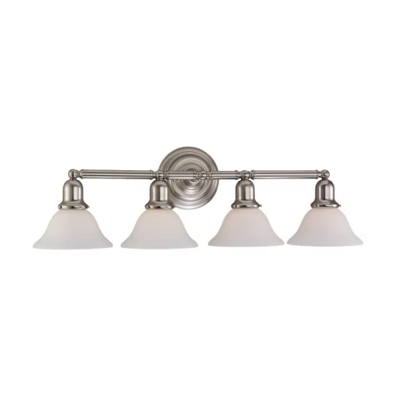 Sea Gull Lighting 44063-962 Sussex Four Light Wall / Bath Vanity Style Lights, Brushed Nickel Finish - SOPHISTICATION AND DESIGN: Featured in the decorative Sussex collection, this vanity light kit is the perfect option for brightening up any space in your home. Sea Gull Lighting's Four Light Wall / Bath features satin white glass shades and adds a touch a style and interest to any room. SEAMLESS FUNCTIONALITY: A great choice for your do-it-yourself project! Our Sea Gull Lighting products are compatible and easily convert to LED with optional replacement lamps. EXPERT RECOMMENDED: When shopping around for vanity lights for mirror, mirror lights, or wall bath fixtures that are sure to compliment your home,  Sea Gull Lighting options are the preferred brand choice of builders and electricians. - bathroom-lights, bathroom-fixtures-hardware, bathroom - 31oWSq5I02L. SS570  -