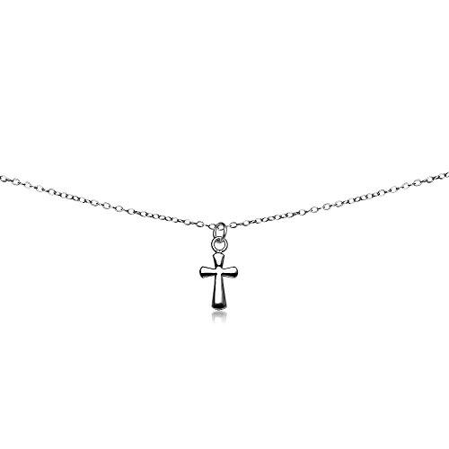 GemStar USA Sterling Silver Polished Cross Dainty Choker Necklace