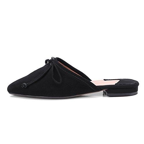 Calzado Baotou Exterior De Confortable Negro Zapatillas Piso Pajarita GAOLIM Mujer Zapatos f47HwFt